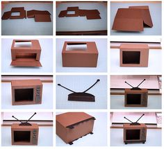 """Today I am introducing a new coordinating set!    These can be used together or each on their own!     This TV box is approximately 4-3/4""""... Cardboard Box Houses, Cardboard Sculpture, Cardboard Toys, Fun Diy Crafts, Easy Crafts For Kids, Diy Craft Projects, Diy Paper, Paper Crafts, Diy Tv"""