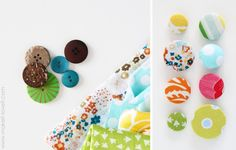 Making covered fabric buttons (cheap buttons + scrap fabric of your choice).