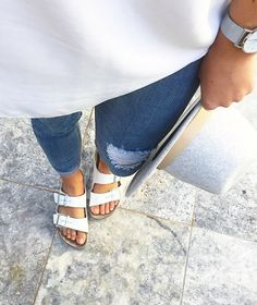 16 Best White Birks Outfits images | Birkenstock outfit