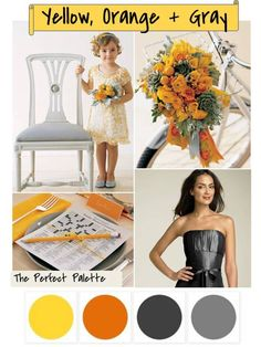 Yellow, Orange + Gray http://www.theperfectpalette.com/2011/10/color-your-wedding-beautiful-yellow.html
