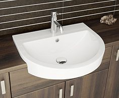 Mocha - The Azuvi mixer tap works perfectly with this semi-recessed basin from our new Faro range.