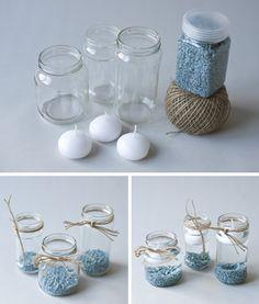DIY: Velas en botes de cristal reciclados.