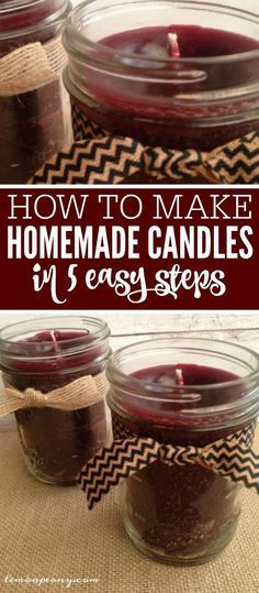 How to Make Homemade Candles in 5 Easy Steps! DIY Candles are SO EASY and the Perfect Cheap Gift Idea for Teachers, Co-Workers, or Neighbors! SO cute for Christmas, Birthdays, or Holidays! #candlemakingideas