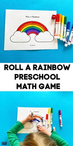 A free printable rainbow preschool math game for little ones! Grab this roll a rainbow printable activity for your rainbow preschool theme. Preschool Math Games, Math Activities For Kids, Preschool At Home, Homeschool Math, Preschool Ideas, Maths, Teaching Ideas, Rainbow Games, Rainbow Theme