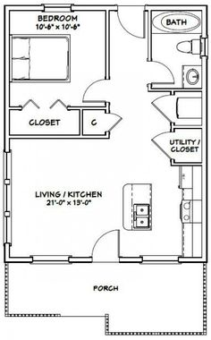 House -- 616 sq ft -- PDF house plans, garage plans, & shed plans. The Plan, How To Plan, Small House Floor Plans, Cabin Floor Plans, One Bedroom House Plans, 20x30 House Plans, Shed House Plans, Br House, Tiny House Living