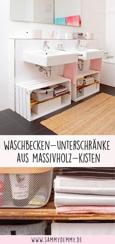 Wooden boxes DIY: Four beautiful ideas for the bathroom- Holzkisten DIY: Vier wunderschöne Ideen fürs Bad Ideas for the bathroom, decorating bathroom, decorating bath, … - Crate Furniture, Cabinet Furniture, Furniture Making, Furniture Ideas, Furniture Design, Diy Bathroom Decor, Small Bathroom, Bathroom Ideas, Bathtub Ideas
