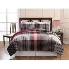 Classic yarn dyed plaid look in a eye catching red and black color ...