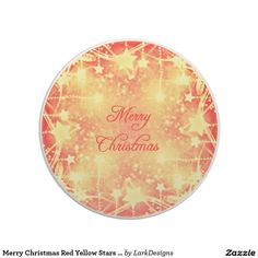Merry Christmas Red Yellow Stars Streamers Drink Coasters
