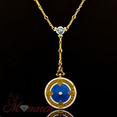 Cresarrow 1920s Art Nouveau HUGE 14k Gold Diamond Enamel Antique Locket Necklace