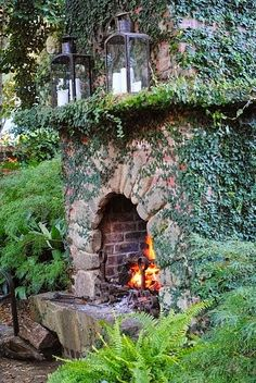 a rustic outdoor fireplace