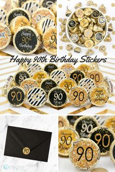 Black And Gold 90th Birthday Party Favor Stickers