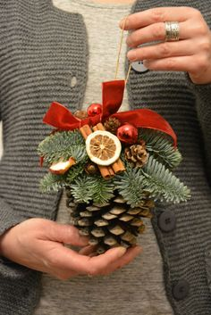 Christmas is a special time... Let the decorations create a magical Christmas spirit in your house... This listing is for MADE TO ORDER Large Pine Cone Christmas Ornament This arrangement will look great wherever you hang it above the fireplace or stairs. Why not hang it on the door frames or in the windows! It can work as a unique gift for friends and family! I would be happy to send your gift directly to the recipient with a message included from you. Materials used: pine cone, velvet…