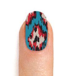 ikat printed nail wraps! just press onto clear polish painted nails and file away.