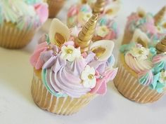 These are really cute edible Fondant Unicorn cupcake toppers. This listing is for 12 sets of Toppers, 12 gold horns, 24 ears and 24 flowers with edible gold pearl. Perfect for a standard cupcake. Each one is hand made and sculpted and may vary slightly from topper to topper. Please