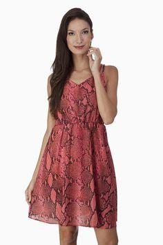 Vestido Chiffon Estampado Coral e Preto | Olook