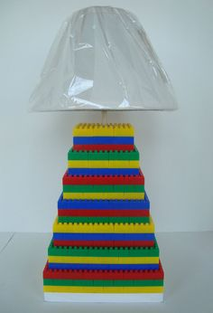 Lego inspired lamp with shade for child's bedroom, office, or playroom, great birthday gift - WHITE BASE