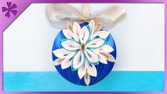 DIY How to make ribbon Christmas ball with kanzashi flowers (ENG Subtitl...