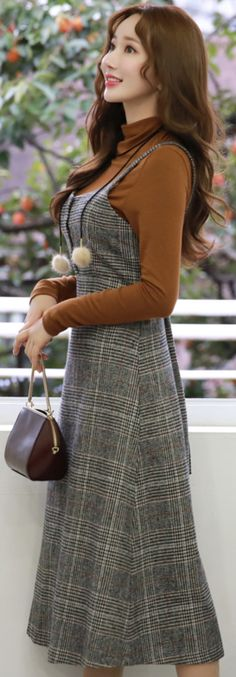 StyleOnme_Check Print Wool Blend A-Line Dress #layered #dress #check #wool #koreanfashion #kstyle #kfashion #falltrend #dailylook #seoul #stylish