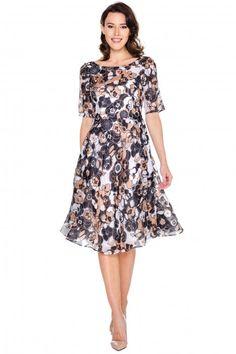 Jedwabna princeska w kwiaty - GaPa Fashion - GaPa Fashion - Odzież damska Balladine.com - Polska Moda Online Dresses For Work, Slim, Casual, How To Wear, Clothes, Vintage, Design, Style, Outfits