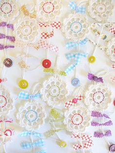 CUTE garland made from buttons and doilies and fabric scraps
