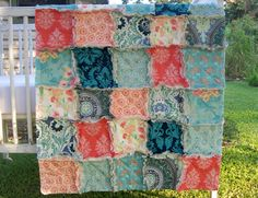 Crib Rag Quilt August Moon Coral Aqua Peach  Shabby by CottageDome, $99.00