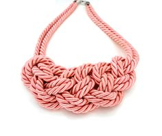 Peach rope knot necklace