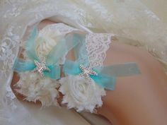 Aqua Blue Beach Wedding Garter, Starfish Bridal Garter, Ivory Wedding Garter…