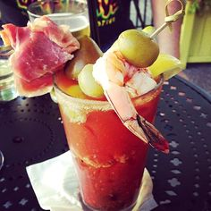 The Casa Noble Bloody Maria @ Woody's Surf Ranch: includes Tabasco ice cubes, shrimp and  cured ham!