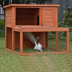 A double storey rabbit hutch builds with firewood edifice that also provides more space for your pet to play! And the bedroom is estranged from its playing area. It is a perfect house for your Rabbit, Guinea Pig or Ferret! Buy Now!!!!