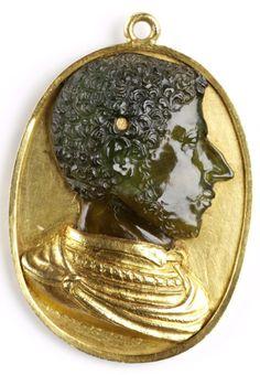 att. Domenico de' Vetri  Cameo of Alessandro De'Medici  Italy (c. 1532)  Green Chalcedony in Gold Setting