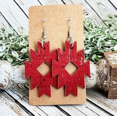 Red Leather and Cork Earrings, Aztec Leather Earrings, Tribal Leather Earrings, Southwest Earrings, Red Dangles, Western Earrings by whiteshedcreations on Etsy