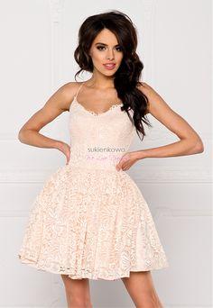 fef396ec66 Sukienkowo.com - LIVIA - Koronkowa sukienka na ramiączkach nude