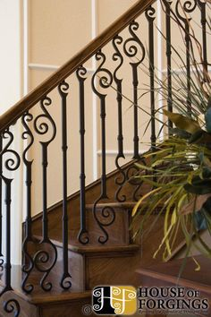 This Staircase Uses High Quality Wrought Iron Balusters To Create A Unique  Mediterranean Style Design.