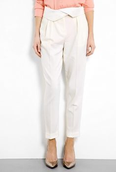 Ivory Tuxedo Twill Ankle Trouser by DKNY