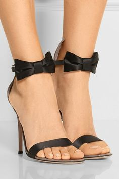 Heel measures approximately 100mm/ 4 inches Mushroom patent-leather, black satin Buckle-fastening ankle strap Designer color: Rose