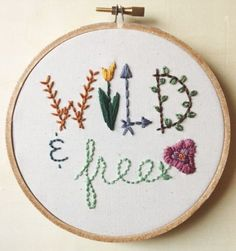 Wild & Free Embroidery Hoop Art | Mountains of Thread | Handmade Loves  @Mountains.of.Thread #MountainsOfThread #Mountains #Embroidery #WildAndFree #HoopArt #Handmade #Wooden #HandmadeLoves #CuratedCollection