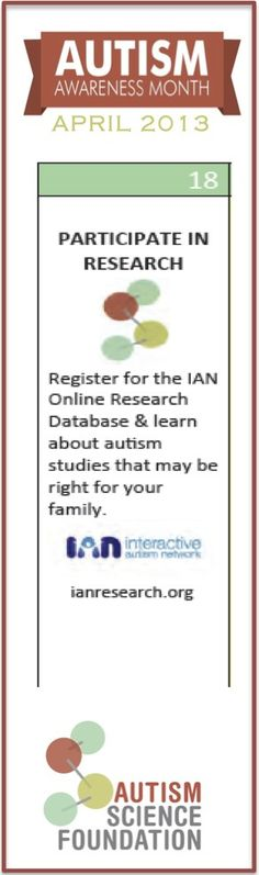 Register for the IAN Online Research Database and learn about autism studies that may be right for your family.