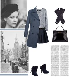 """The Blue Trench Coat"" by patpatkay ❤ liked on Polyvore"