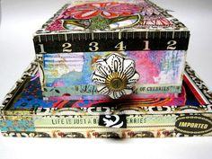 Vintage Wooden CIGAR Boxes SET Mixed Media Altered Supply Storage Boxes STACKABLE. $55.00, via Etsy.