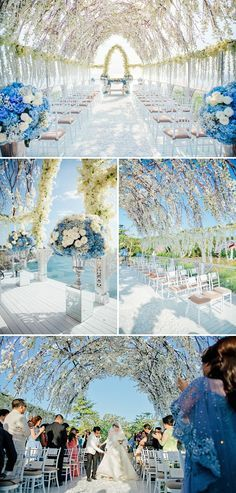 Anthony and Shella's magical blue and white seaview wedding // Luxurious Wedding at AYANA Bali with the Bride in Krikor Jabotian decoration luxury Wedding Ceremony Ideas, Outdoor Wedding Decorations, Bali Wedding, Wedding Reception Venues, Ceremony Decorations, Wedding Themes, Wedding Designs, Destination Wedding, Wedding Planning