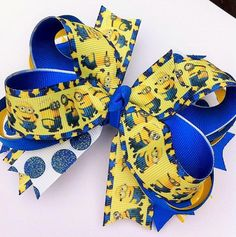 Minion Boutique Layered Hair Bow by MiaBellaCrafting on Etsy