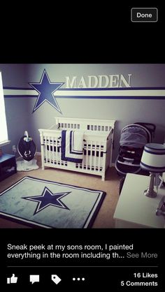 New Baby Nursery Boy Football Dallas Cowboys 63 Ideas Cowboy Baby Nurseries, Cowboy Nursery, Cowboy Room, Baby Boy Rooms, Baby Room, Dallas Cowboys Nursery, Dallas Cowboys Decor, Football Nursery, Dallas Cowboys Football