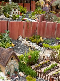 Combining drought-tolerant succulents, Cotswold cottages, and elevated beds will lend easy inspection of the wee landscaping of a miniature garden. Large Fairy Garden, Fairy Garden Plants, Fairy Garden Houses, Garden Pests, Garden Homes, Fairies Garden, Fairy Gardening, Large Indoor Plants, Garden Picnic