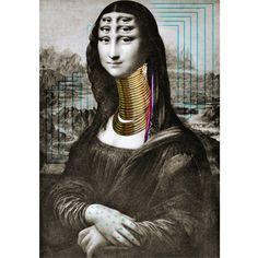 La célèbre peinture de Mona Lisa nous fait voyager jusqu'en Afrique grâce à ce tableau contemporain et original.