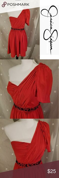Jessica Simpson Red One Shouler Dress Perfect for a Valentine's Day Date! Super fun and flirty bright red chiffon one shoulder dress with black sequin and bead embellishments around the waist. Side zipper and fully lined. EUC. Make me an offer!😊 Jessica Simpson Dresses