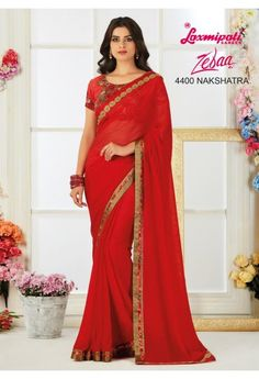 Red is in Air! Brighten up your mood with this thoughtfully designed Red Georgette Saree. Its Fancy Lace and glittering Diamonds give it a Charm! It carries matching Georgette Blouse piece. Laxmipati Sarees, Lehenga Saree, Georgette Sarees, Saris, Fancy Sarees, Party Wear Sarees, Indian Clothes Online, Saree Shopping, Red Saree