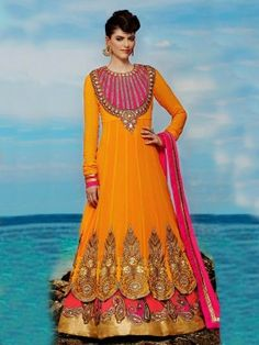 Yellow Pure Georgette Anarkali Suit With Heavy Embroidery Work www.saree.com