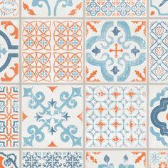 """Tarkett Starfloor Click 30 """"Retro Orange Blue"""" - Dalle PVC clipsable imitation carreaux de ciment disponible sur BRICOFLOR"""