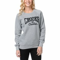 """custom black """"Crooks And Castles"""" front logo graphic, printed on a soft fleece lined pullover sweatshirt with raglan sleeves."""