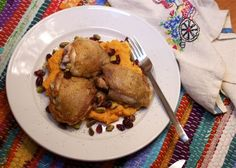 Pan Roasted Chicken with Sweet Potato Mash, Cranberries and Pistachios (via marriahlavigne.com)